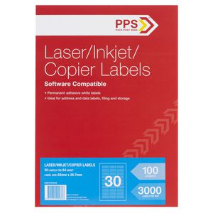 PPS Mailing Labels 100 Sheets 30 Per Page