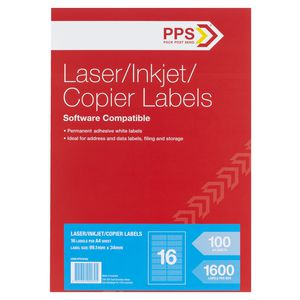 PPS Mailing Labels 100 Sheets 16 Per Page