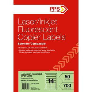 PPS Fluoro Green Labels 50 Sheets 14 Per Page