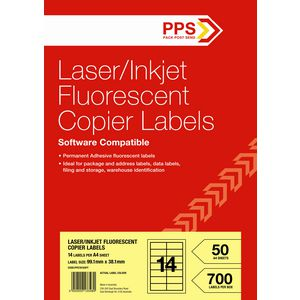 PPS Fluoro Yellow Labels 50 Sheets 14 Per Page