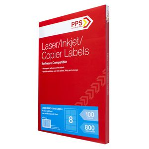 PPS Mailing Labels 100 Sheets 8 Per Page