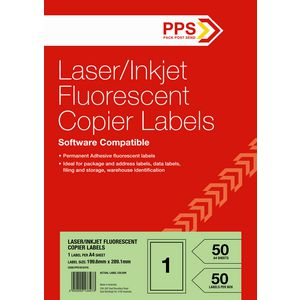 PPS Fluoro Green Labels 50 Sheets 1 Per Page