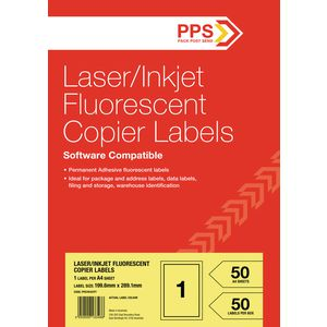 PPS Fluoro Yellow Labels 50 Sheets 1 Per Page