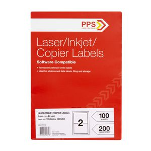 PPS Mailing Labels 100 Sheets 2 Per Page