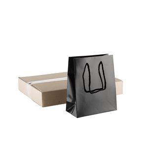 Glossy Black Small Gift Bag 30 Pack