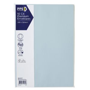PPS C4 Printed Coloured Envelopes Baby Blue 10 Pack
