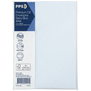PPS C6 Printed Coloured Envelopes Baby Blue 10 Pack