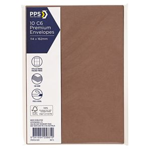 PPS C6 Printed Coloured Envelopes Copper 10 Pack