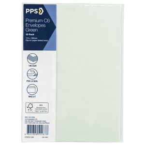 PPS C6 Printed Coloured Envelopes Lily Green 10 Pack