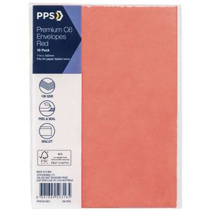 PPS C6 Printed Coloured Envelopes High Risk Red 10 Pack