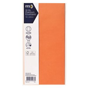 PPS DL Printed Coloured Envelopes Vibrant Orange 10 Pack