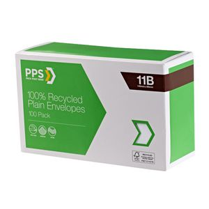 PPS 11B Plain Faced 100% Recycled Envelopes 100 Pack