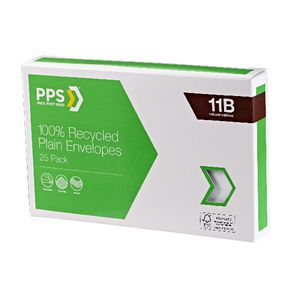 PPS 11B Plain Faced 100% Recycled Envelopes 25 Pack