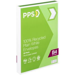 PPS B4 Plain Faced 100% Recycled Envelopes 50 Pack