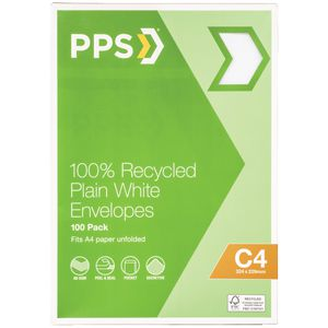 PPS C4 Plain Faced 100% Recycled Envelopes 100 Pack