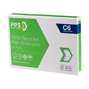 PPS C6 Plain Faced 100% Recycled Envelopes 25 Pack