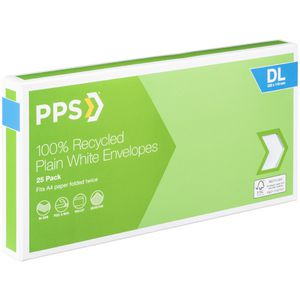 PPS DL Plain Faced 100% Recycled Envelopes 25 Pack