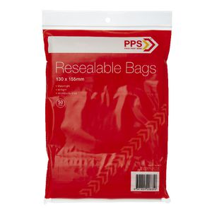 PPS 130 x 155mm Resealable Bags 50 Pack