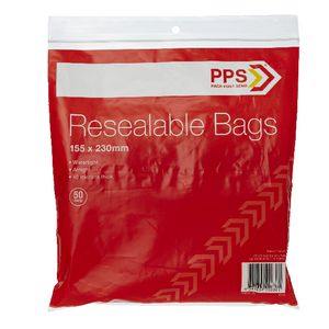 PPS 155 x 230mm Resealable Bags 50 Pack