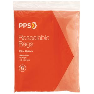 PPS 180 x 255mm Resealable Bags 25 Pack