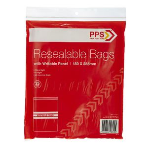 PPS 180 x 255mm Resealable Bags with Writable Panel 25 Pack