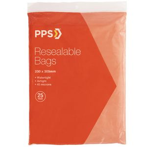 PPS 230 x 305mm Resealable Bags 25 Pack