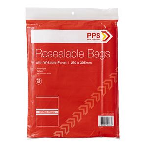 PPS 230 x 305mm Resealable Bags with Writable Panel 25 Pack