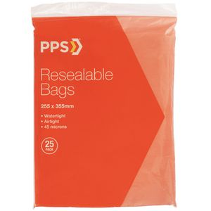 PPS 255 x 355mm Resealable Bags 25 Pack