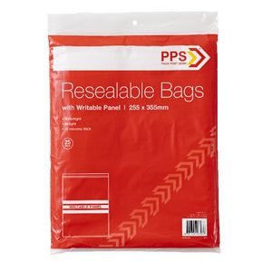 PPS 255 x 355mm Resealable Bags with Writable Panel 25 Pack