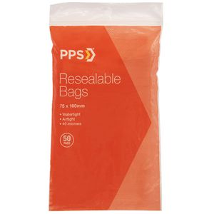 PPS 75 x 100mm Resealable Bags 50 Pack