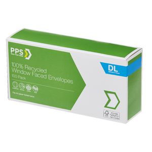 PPS DL Window Faced 100% Recycled Envelopes 100 Pack