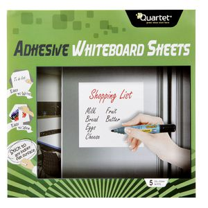Quartet Adhesive Whiteboard Sheet 25 x 25cm 5 Pack
