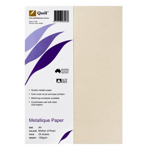 Quill Metallique Paper 120gsm A4 Mother of Pearl 25 Sheets