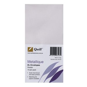 Quill Metallique DL Envelopes Peridot 10 Pack