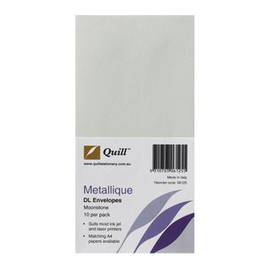 Quill Metallique DL Envelopes Moonstone 10 Pack