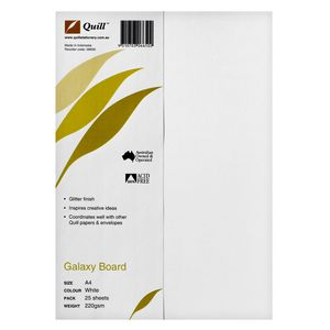 Quill 220gsm A4 Glitter Board White 25 Pack