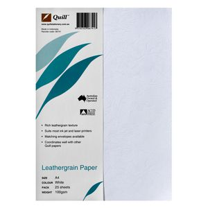Quill 100gsm A4 Leathergrain Paper White 25 Pack