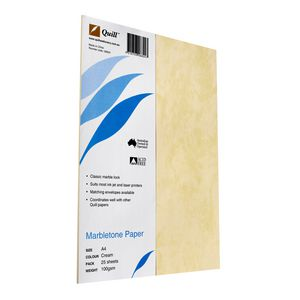 Quill 100gsm A4 Marbletone Paper Cream 25 Pack