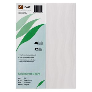 Quill 220gsm A4 Sculptured Board Sandstone 25 Pack