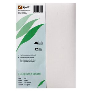Quill 220gsm A4 Sculptured Board Linen 25 Pack