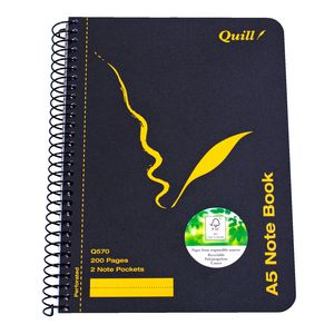 Quill A5 Spiral Notebook 200 Page