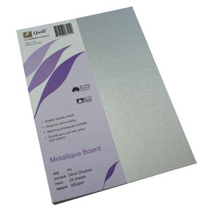 Quill Metallique Board 285gsm A4 Silver Shadow 25 Pack