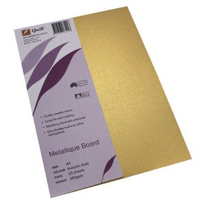 Quill Metallique Board 285gsm A4 Autumn Gold 25 Pack
