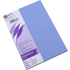 Quill Metallique Board 285gsm A5 Vista Blue 25 Pack