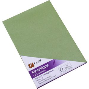 Quill Metallique C6 Envelopes Fairway Green 10 Pack