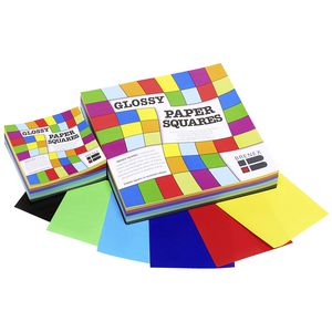 Brenex Paper Squares Gloss 254mm Assorted Colours 360 Pack