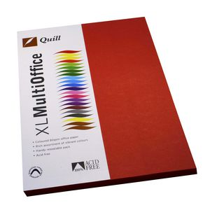 Quill Coloured Paper 80gsm A4 Red 100 Pack