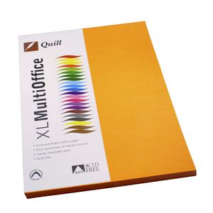 Quill Coloured Paper 80gsm A4 Orange 100 Pack
