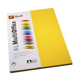 Quill Coloured Paper 80gsm A4 Sunshine 100 Pack
