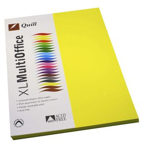 Quill Coloured Paper 80gsm A4 Lemon 100 Pack